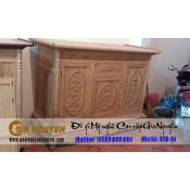 Tủ thờ gỗ gụ đục chạm ba cánh TTD-16